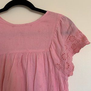 Gap Babydoll Pink Embroidered Floral Dress